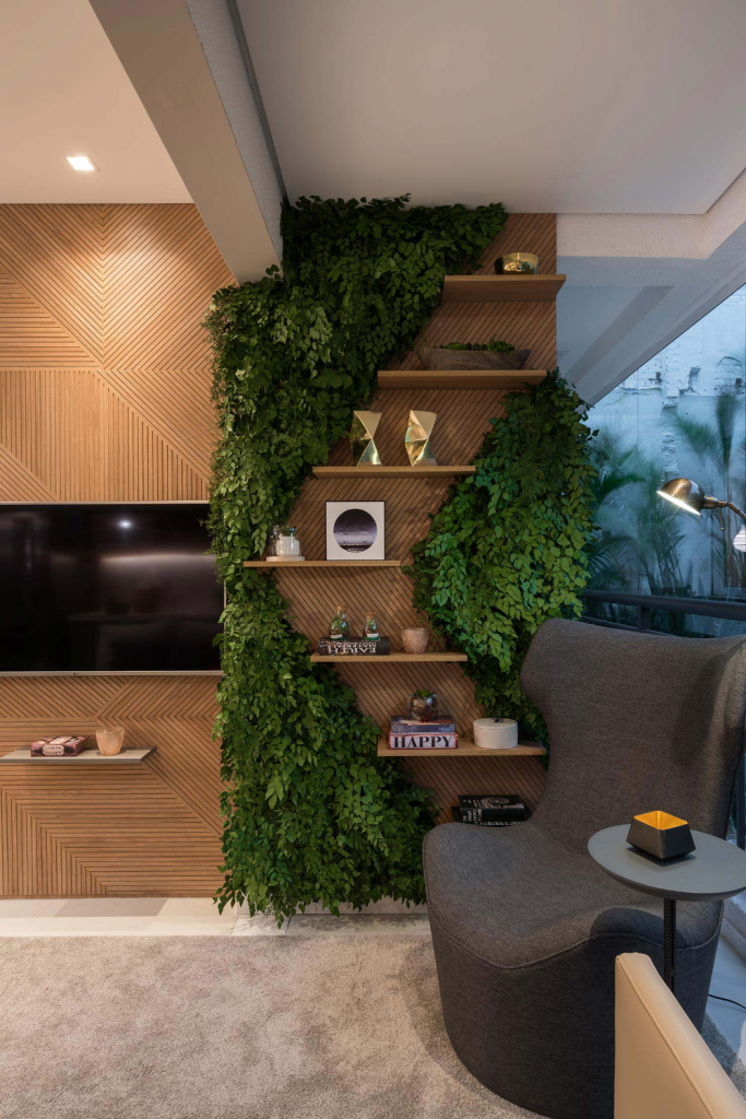 Wall with wood and plants
