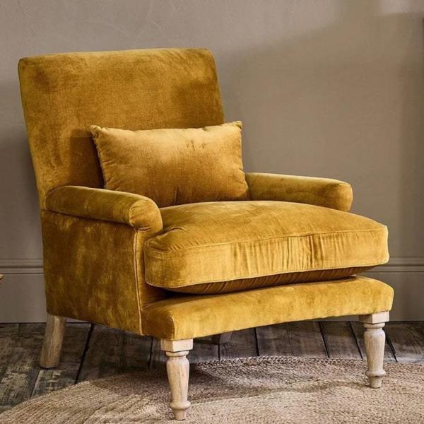 Ochre Velvet armchair